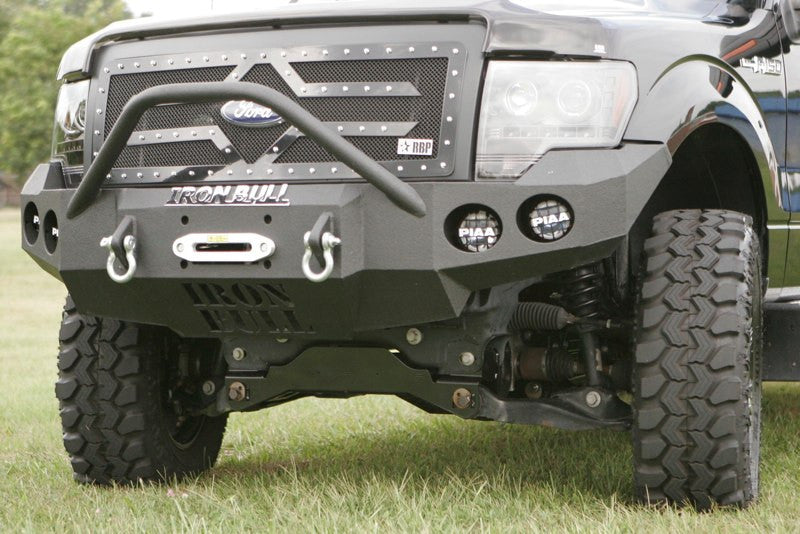 2009-2014 Ford F-150 Front Base Bumper - Iron Bull Bumpers - FRONT IRON BUMPER - Metal bumper for heavy duty trucks Perfect for CITY/OFF-ROAD applications with Light Buckets and Winch Mount included