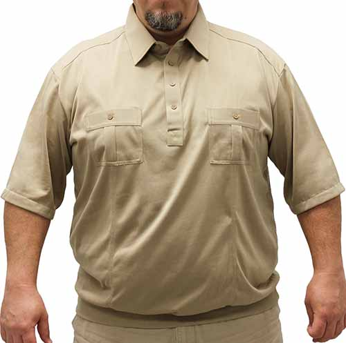 Palmland Short Sleeve Two Pocket Banded Bottom 1109 Big and Tall-Taupe