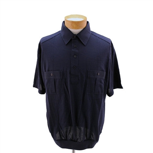 Palmland Short Sleeve Two Pocket Sage Banded Bottom 1109BT-Navy - bandedbottom