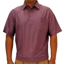 Big and Tall Tone on Tone Textured Knit Short Sleeve Banded Bottom Shirt - 6010-16BT - Plum - theflagshirt