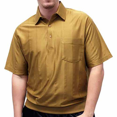 Big and Tall Tone on Tone Textured Knit Short Sleeve Banded Bottom Shirt - 6010-16BT Mocha - theflagshirt