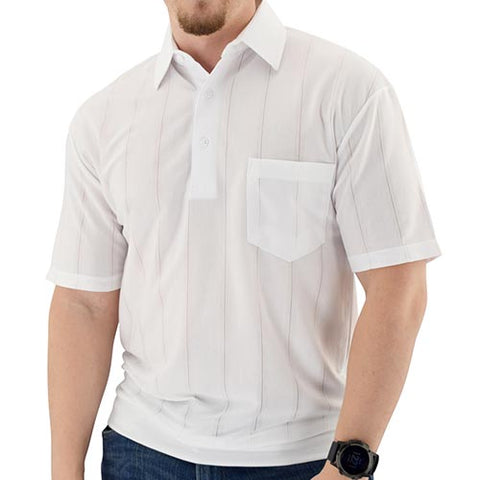 Big and Tall Tone on Tone Textured Knit Short Sleeve Banded Bottom Shirt - 6010-16BT - White - theflagshirt