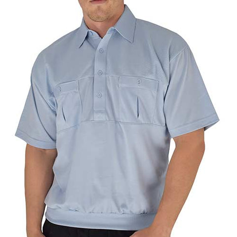 Classics by Palmland Two Pocket Knit Short Sleeve Banded Bottom Shirt 6010-656 Light Blue - bandedbottom