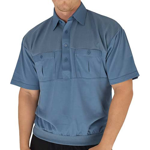Classics by Palmland Two Pocket Knit Short Sleeve Banded Bottom Shirt 6010-656 Marine - bandedbottom