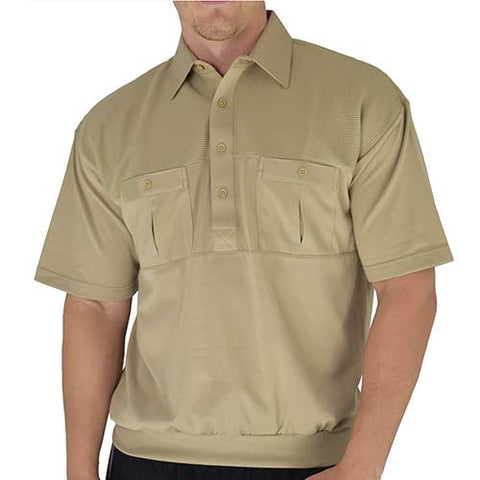 Classics by Palmland Two Pocket Knit Short Sleeve Banded Bottom Shirt  6010-656 Taupe - bandedbottom