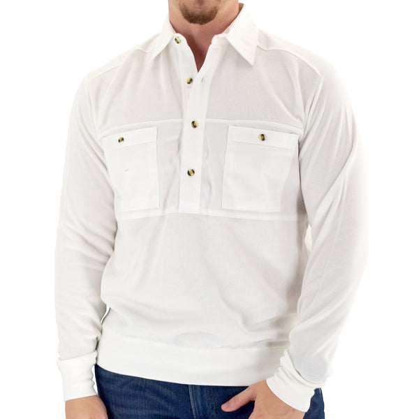 Mens LS Solid Knit Banded Bottom Shirt with Woven Chest Panel 6042-22N - White - Banded Bottom