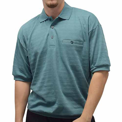 Classics By Palmland Allover Short Sleeve Banded Bottom Shirt - 6070-227BT Sage - theflagshirt