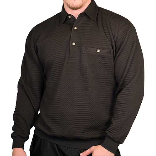 LD Sport Solid Textured Long Sleeve Banded Bottom Shirt - 6094-950 - Black- Big and Tall