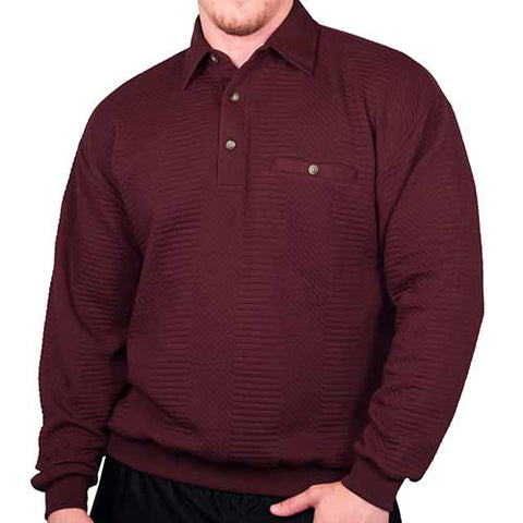LD Sport L/S Solid Textured Banded Bottom - 6094-950 - Burgundy