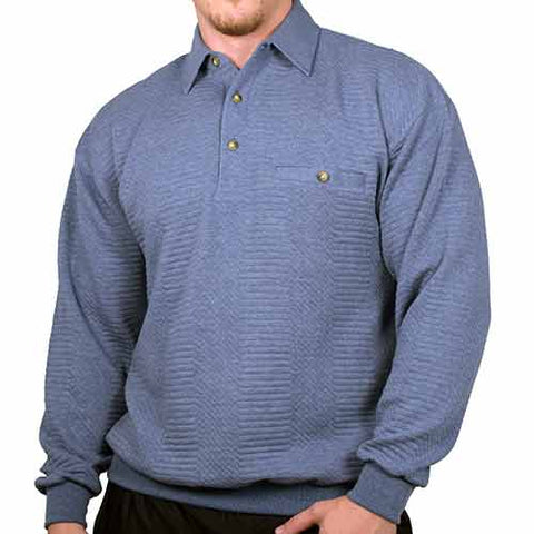 LD Sport L/S Solid Textured Banded Bottom - 6094-950-Blue Heather -Big and Tall