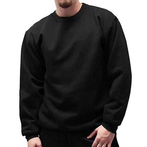 Fleece Crewneck Long Sleeve Sweat Shirt  Big and Tall 6400-450BT - Black