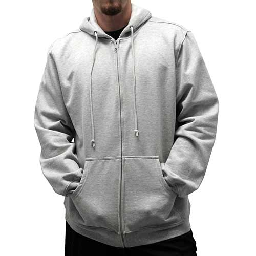 L/S Full Zipper Fleece Drawstring Hoodie 6400-452 Grey Heather
