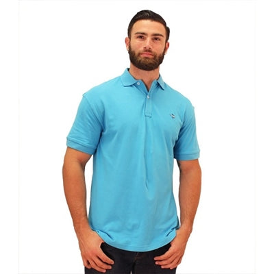 Biscayne Bay Embroidered Men's Polo - Aqua - theflagshirt