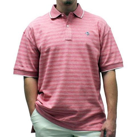 Biscayne Bay Short-Sleeve Striped  Polo - 7200-410 Guava - theflagshirt