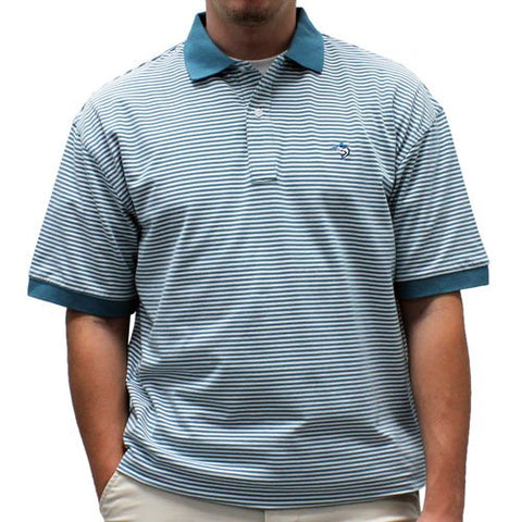 Biscayne Bay Horizontal Feed Stripe Polo - 7200-411 Teal - theflagshirt