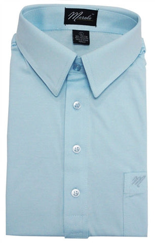Merola Short Sleeve Pocket Polo Shirt - Sky Blue - bandedbottom