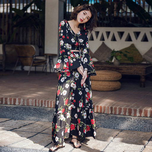 Hello Vacation Ruffle Sleeves Top Floral Dress Set