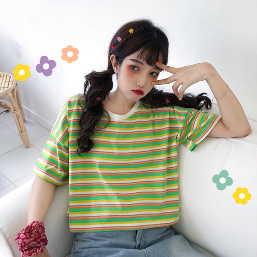 Aesthetic Kawaii Pastel Spilt Colored Tee