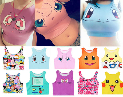 Harajuku Sexy Girls Pokemon Go Pocket Monster Sailor Moon Crystal Crop Tops