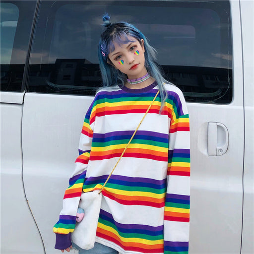 Aesthetic Korean Ulzzang Harajuku Rainbow Striped Shirt