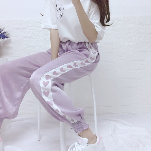 Harajuku Kawaii Line Of Hearts Pastel Pants