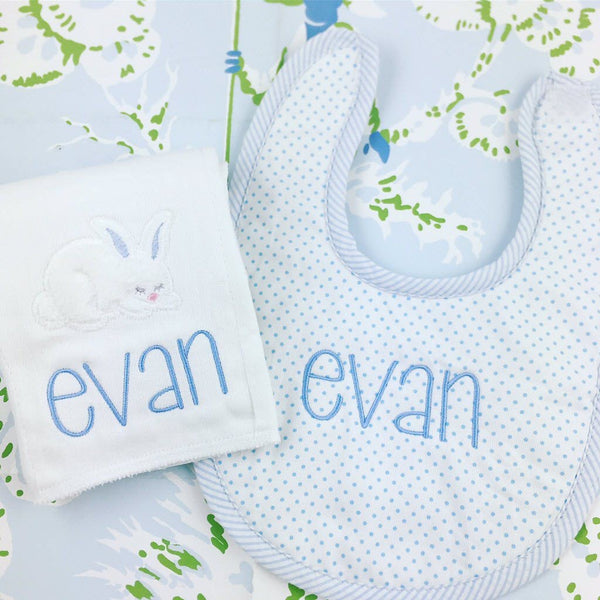 Bunny Bib & Burp Set (Pink or Blue)