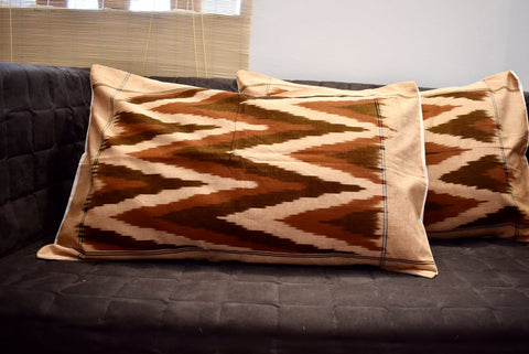 Set - 2 Huse Perna din Bumbac Handloom Ikat - Brown