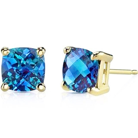 Sapphire Gemstone set in 14Kt Yellow, White or Rose Gold Earrings