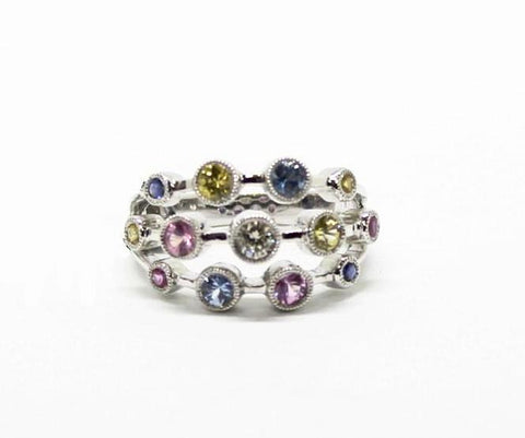 Coloured Gemstones and Diamond on 18Kt White Gold Three-Tiered Ring