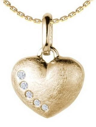 Vintage Gold Heart and Diamond Necklace