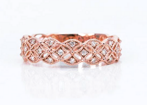 Diamonds on a Rose Gold Ring