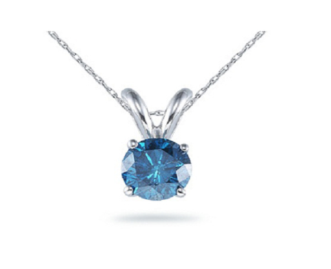 Aquamarine Gemstone on White Gold Pendent Necklace