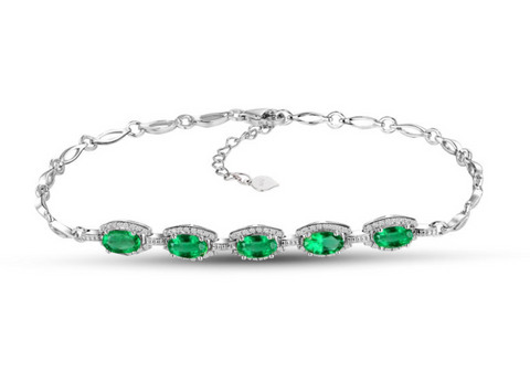 Emerald and Diamonds on 18Kt White Gold Bracelet