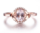Pink Morganite and Diamonds on 10kt Rose Gold Ring