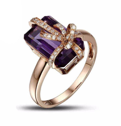 Amethyst Gemstone and Diamond Rose Gold Ring