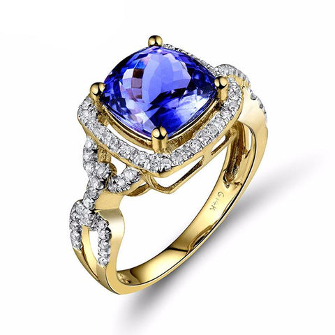 Vintage 2.5ct Tanzanite Gemstone and Diamonds on Yellow Gold Ring