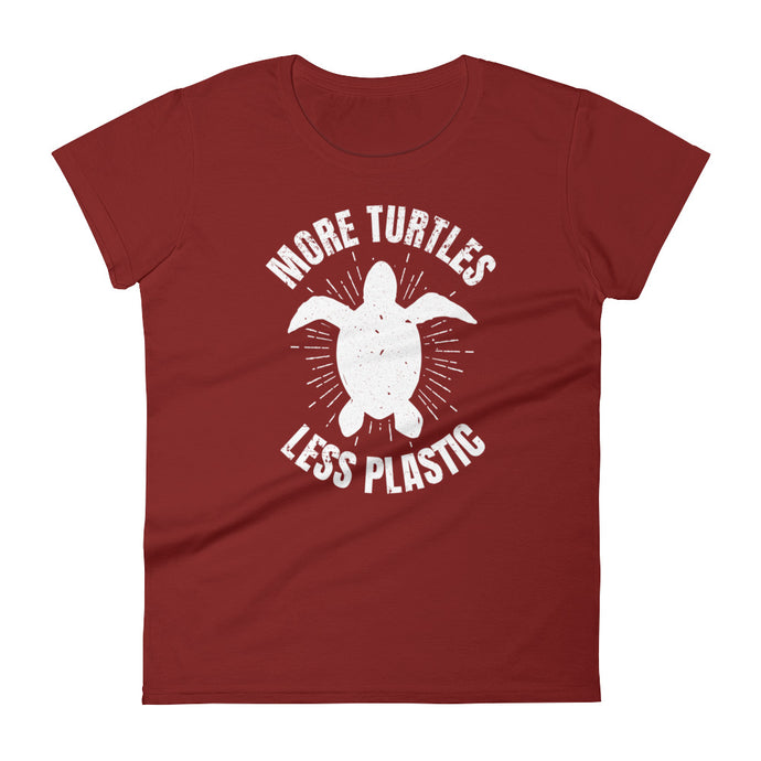 More Turtles Less Plastic Ocean Conservation Women's Sea Turtle Shirt - KOBU.US