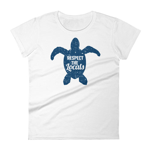 Respect The Locals Sea Turtle T Shirt For Women Ocean Conservation Tee - KOBU.US