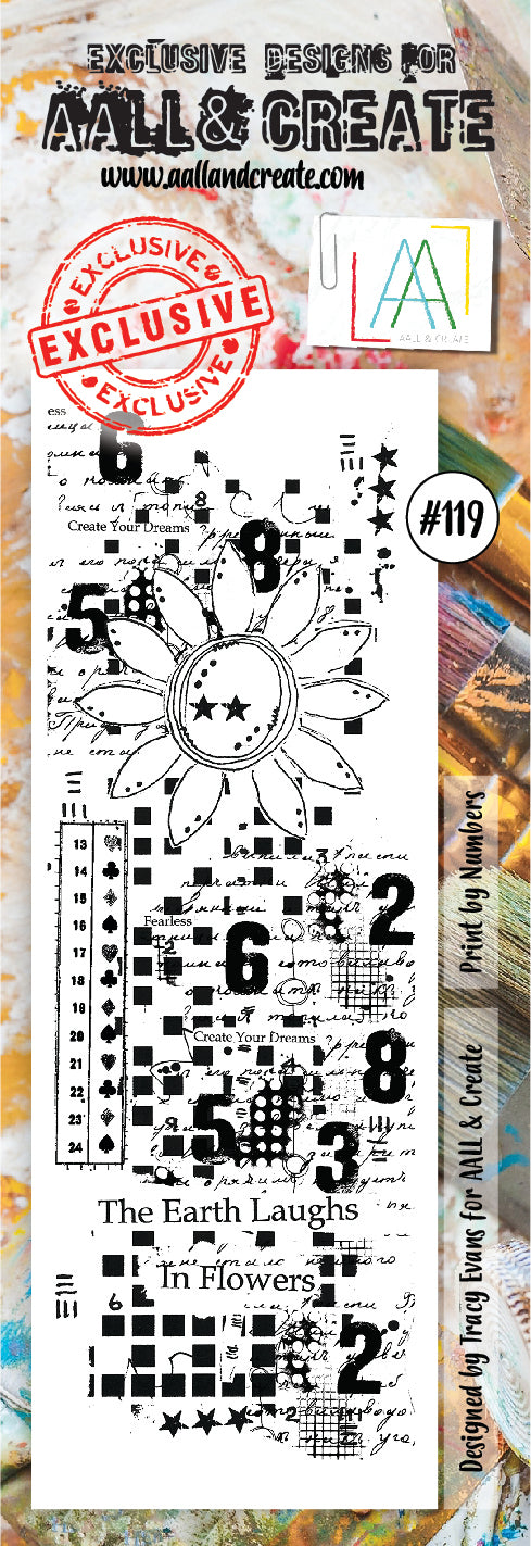 AALL & Create - Clear Border Stamp Set - #119 - Flower & Numbers