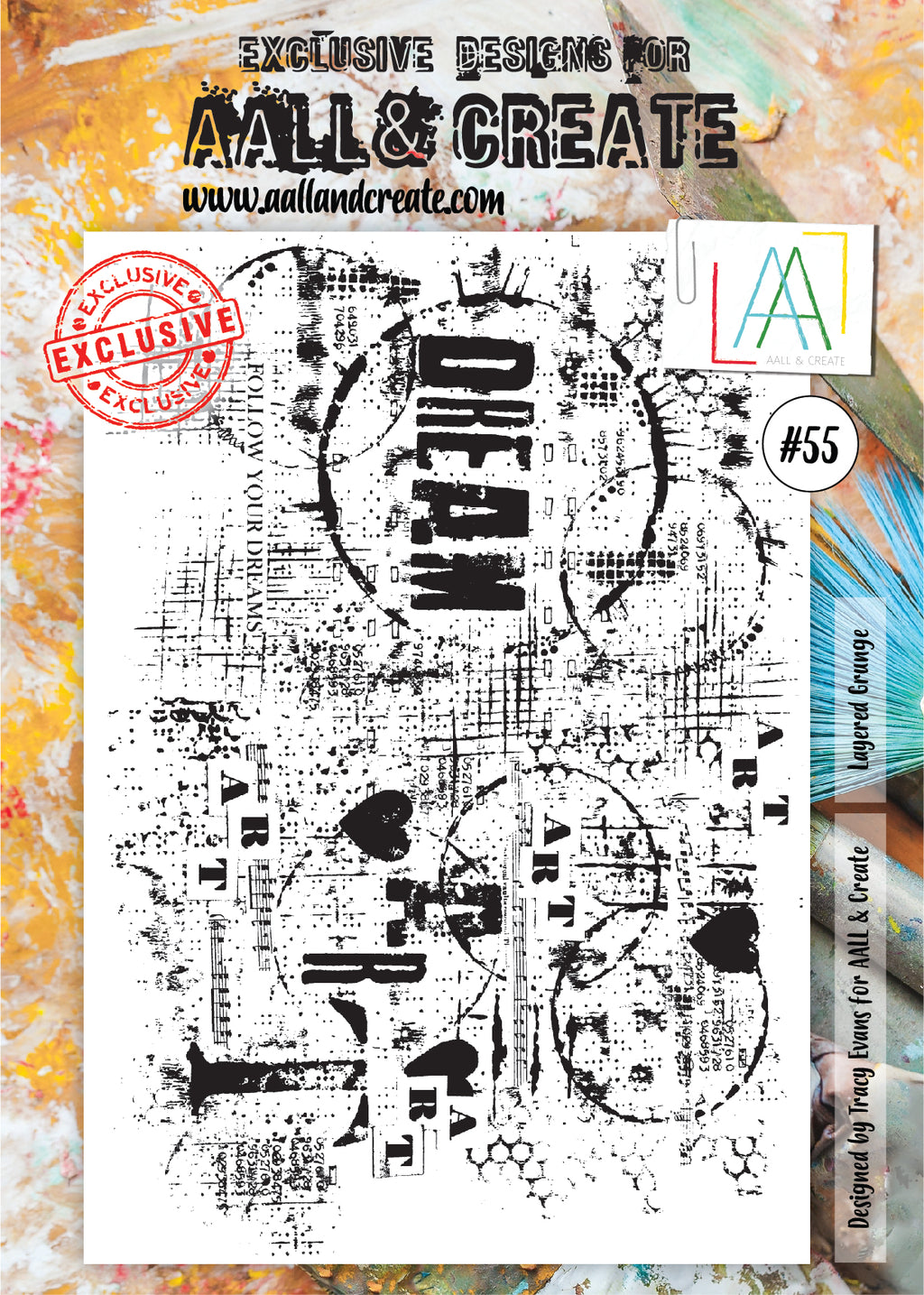 AALL & Create - Clear Stamp Set - #55 - A4 - Layered Grunge
