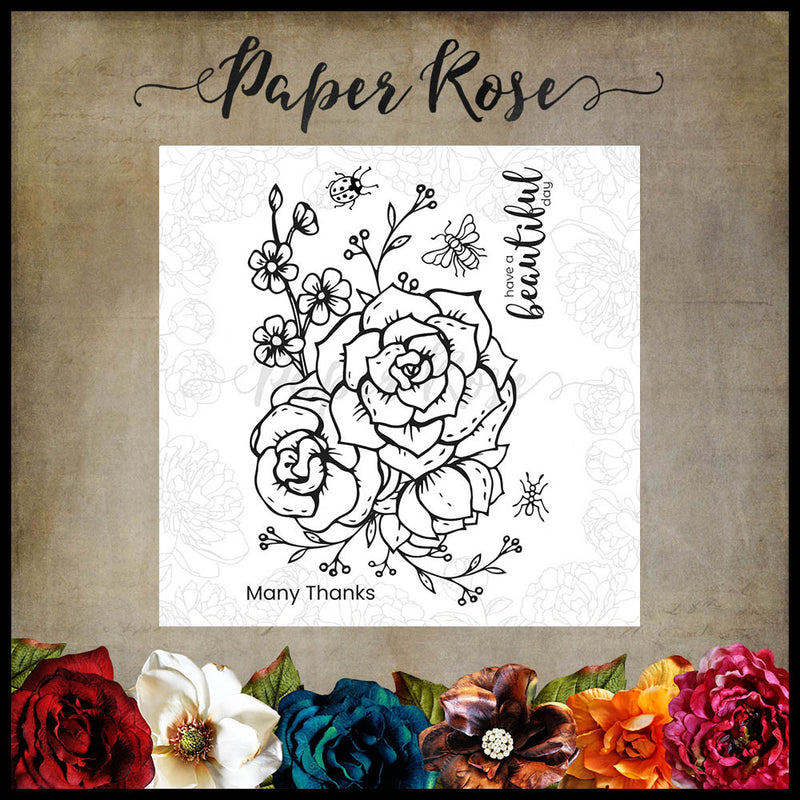 Paper Rose - Beautiful Day 4 x 6 - Clear Stamp Set