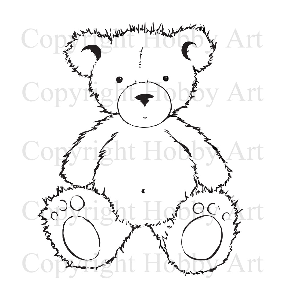 Hobby Art Stamps - Rubber Cling Stamp - Scruff Teddy Bear