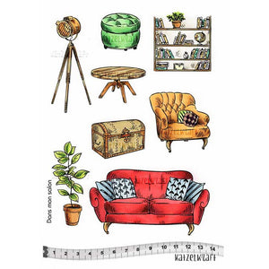 Katzelkraft - In the Living Room - Unmounted Red Rubber Stamp Set