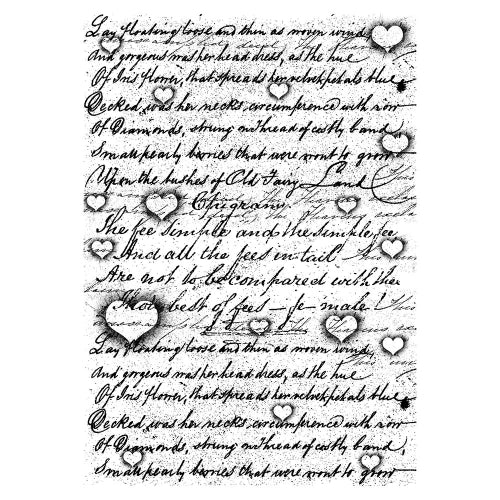Lavinia - Background Script with Hearts - Clear Polymer Stamp