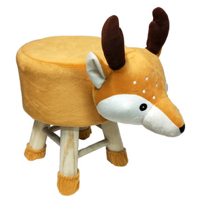 Wooden Animal Stool for Kids (Reindeer)| With Removable Soft Fabric Cover | (Mustard) - BestP : Best Product at Best Price
