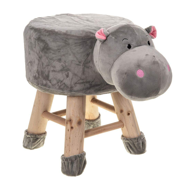 Wooden Animal Stool for Kids (Hippo)| With Removable Soft Fabric Cover | (Grey) - BestP : Best Product at Best Price