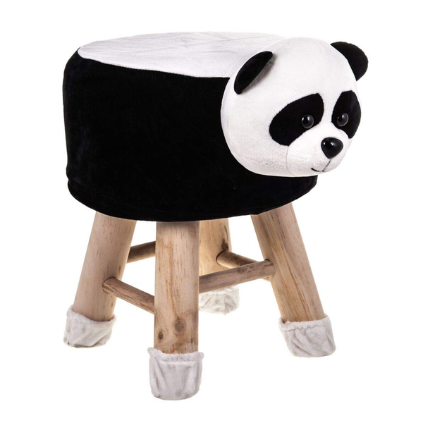 Wooden Animal Stool for Kids (Panda)| With Removable Soft Fabric Cover | (Black & White) - BestP : Best Product at Best Price