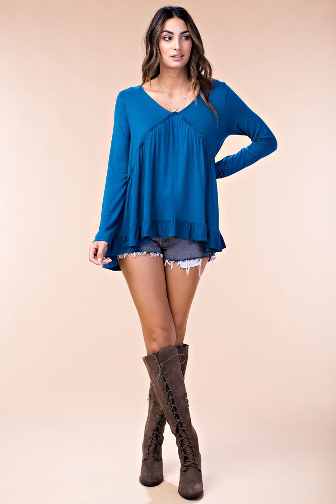 Double Frill Top in Teal
