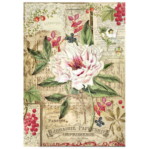 NEW Stamperia A4 Decoupage Rice Paper - Peony with Red Berries - DaliART