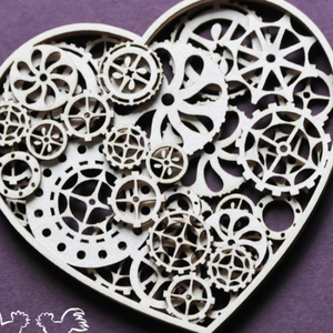 Wycinanka 3 Layer Cog Heart - Chipboard